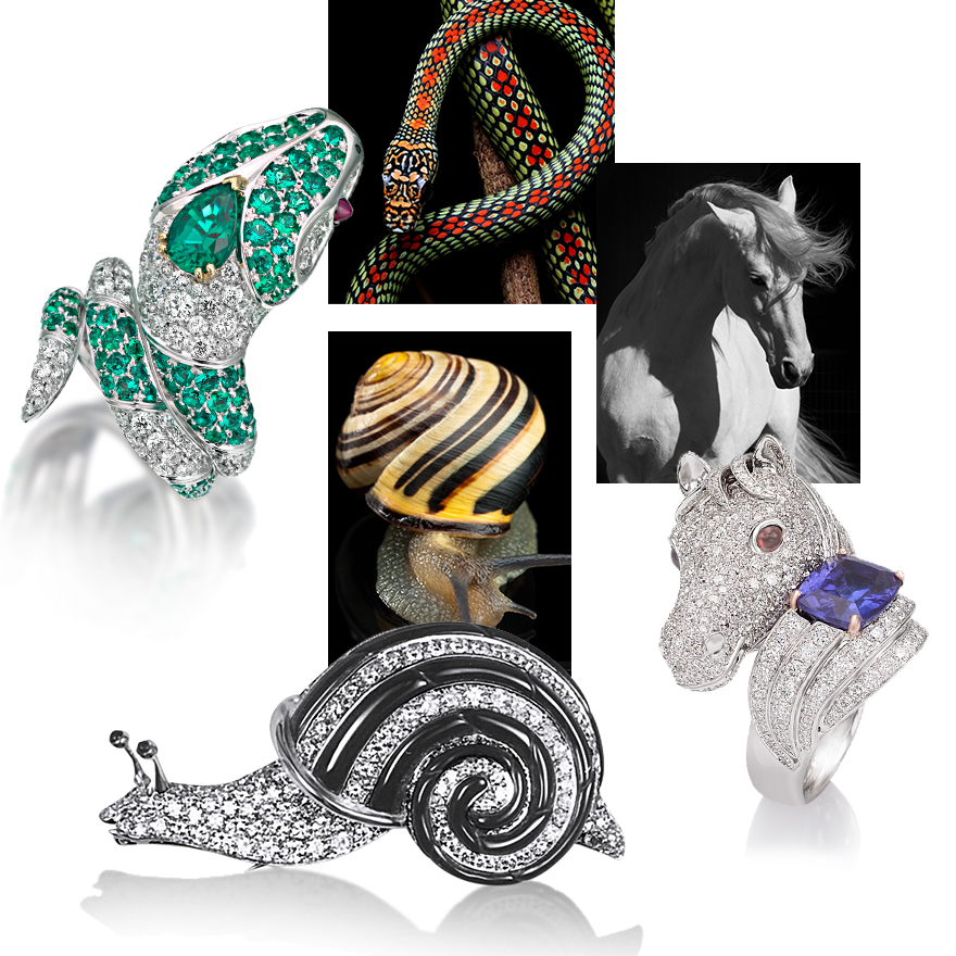 Clockwise from upper left – PICCHIOTTI Emerald and Diamond Snake Ring, artistic images of snake, horse, snail, PICCHIOTTI Horse Ring with Diamonds and large cushion cut Tanzanite, PICCHIOTTI White Diamond and Black Onyx Garden Snail Brooch