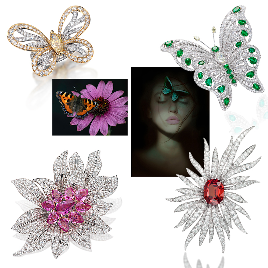 """Clockwise from upper left – PICCHIOTTI Butterfly Ring with Center Marquis Yellow Diamond, Flower & Butterfly Art Photography, PICCHIOTTI Diamond and Emerald Butterfly Ring, PICCHIOTTI """"Essentially Color"""" Floral Brooch with White Diamond Petals and Rare Unheated Orange Spessartite Center, PICCHIOTTI Diamond and Pink Sapphire Floral Brooch that was featured in Veranda Magazine April/May 2021"""